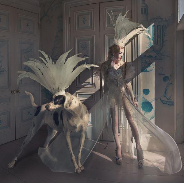 Miss Aniela Natalie Lennard Photograph Woman Dog Feather Headdress