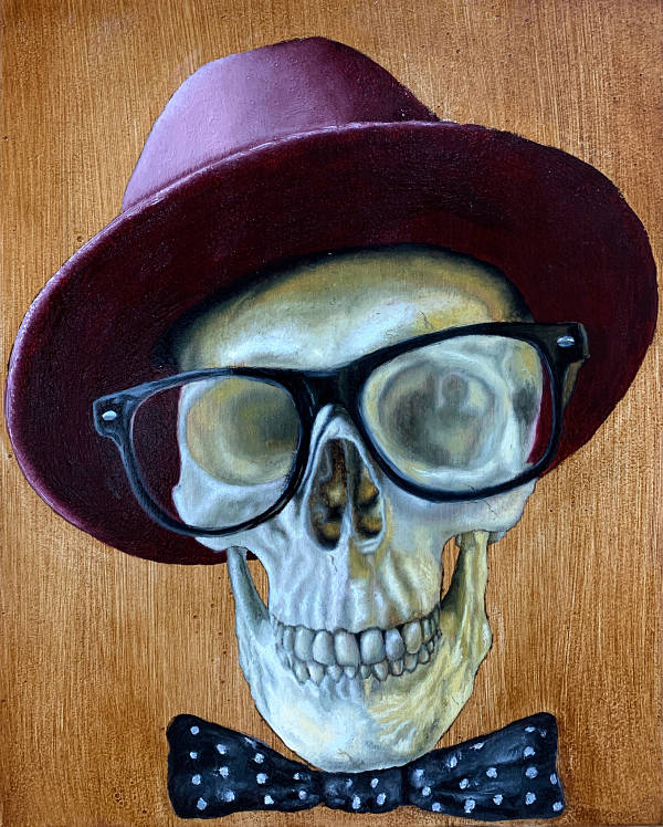 "O'Neil Scott ""The Good Life"" skeleton wearing hat and glasses"