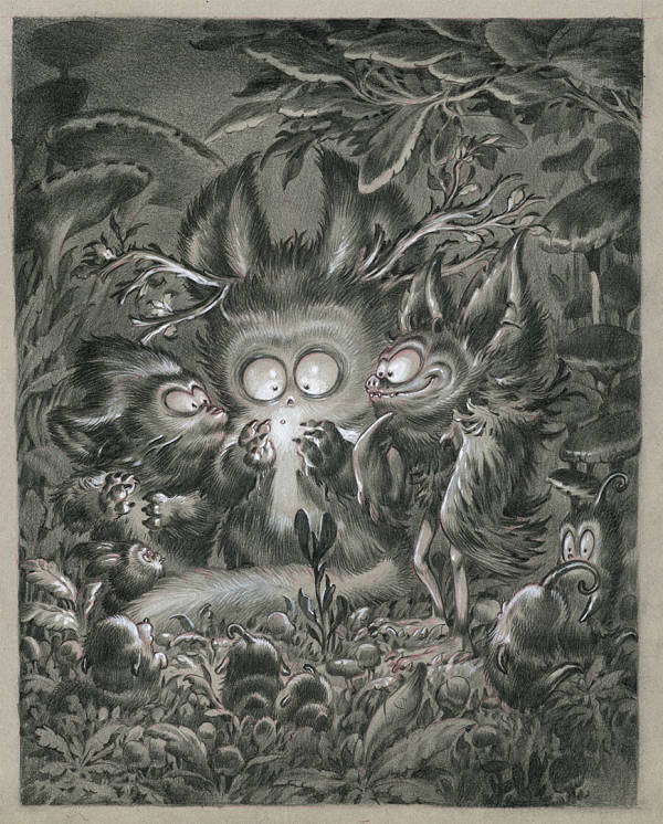 """Stan Manoukian """"Firefly""""graphite & acrylics illustration at Haven Gallery"""