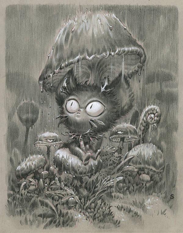 """Stan Manoukian """"Rainy Night"""" surreal creature illustration"""