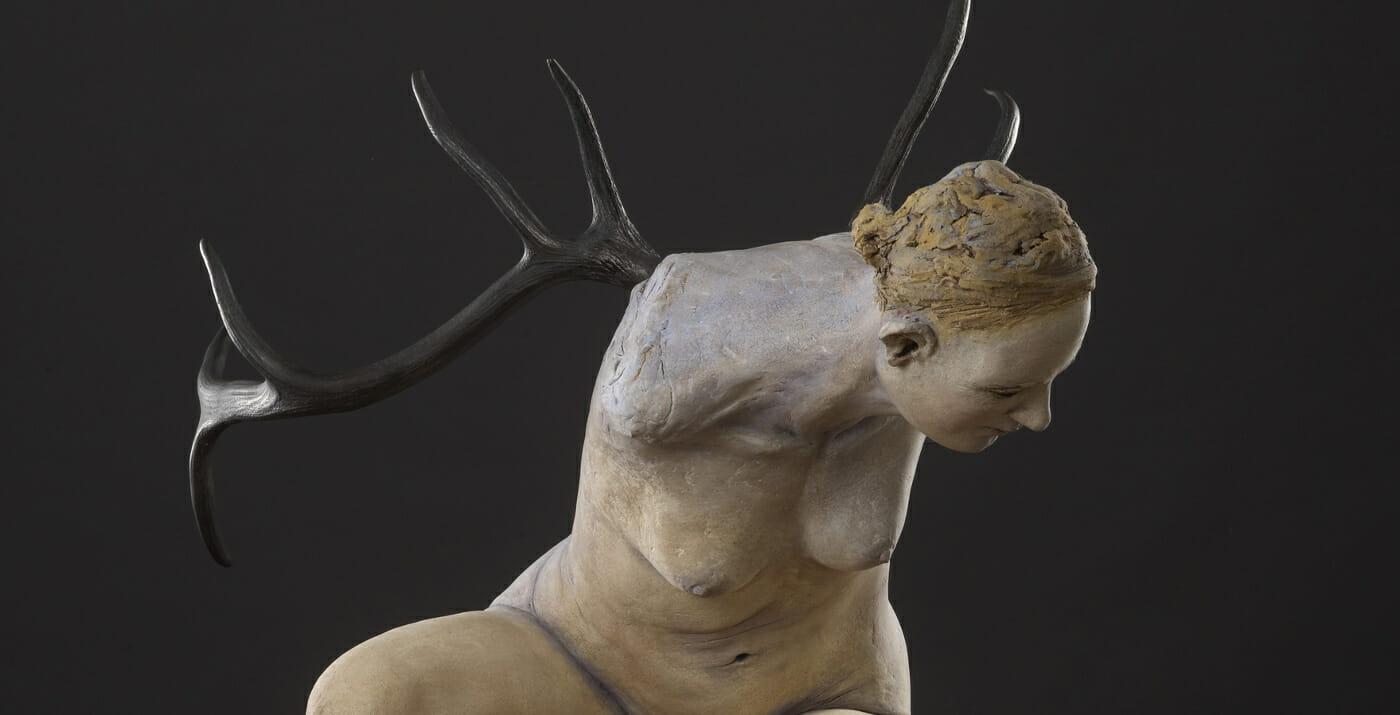 Susannah Zucker blue crouch sculpture close up