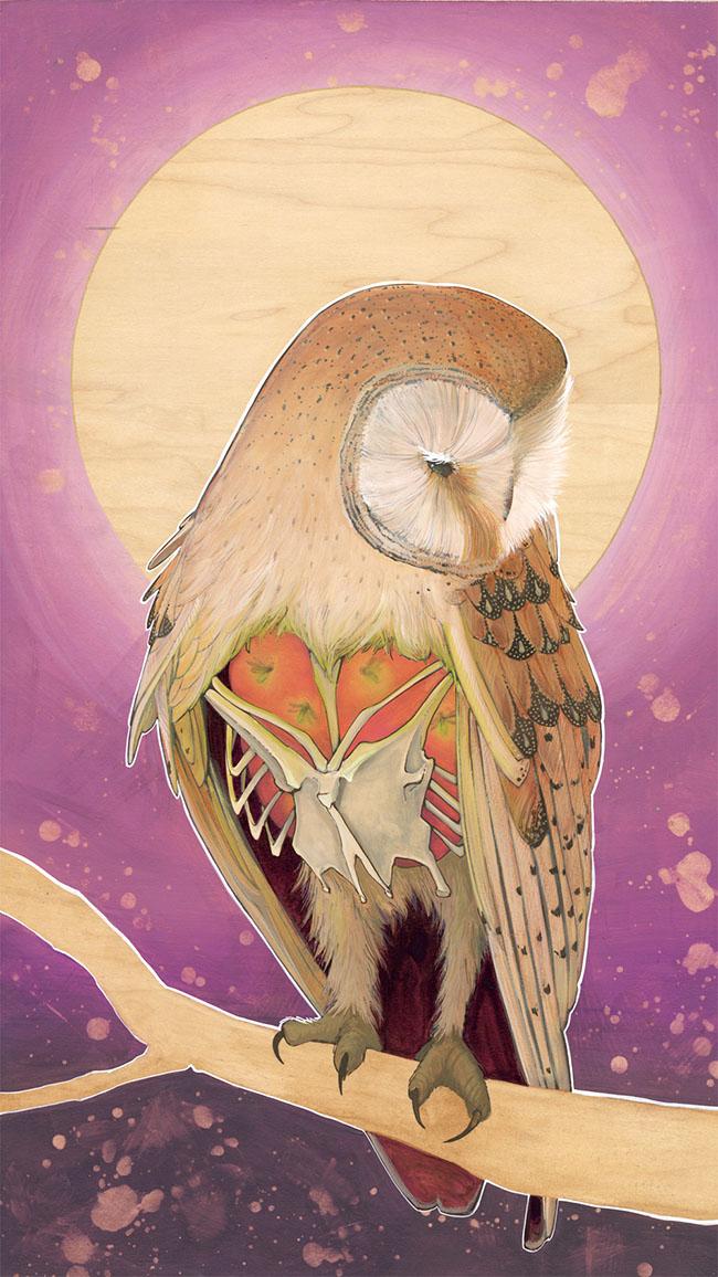 Brianna Reagan FEAST + FAMINE owl painting