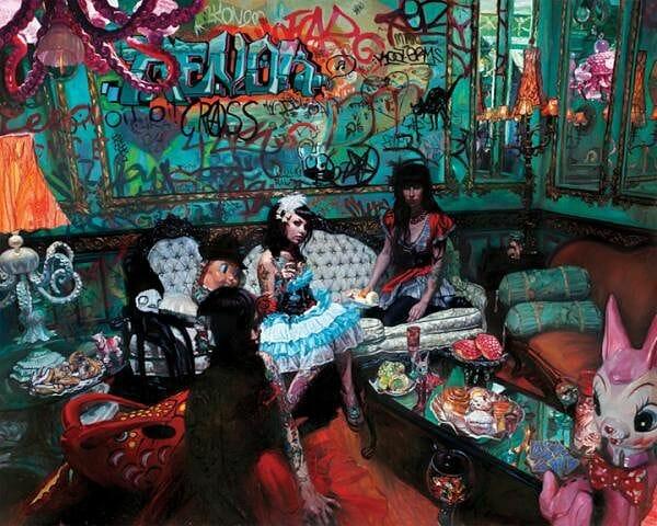 Natalia Fabia punk rock party oil painting