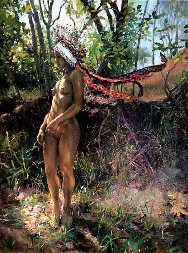Natalia Fabia nude woman forest oil painting