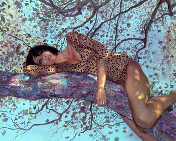 Natalia Fabia cheetah woman oil painting