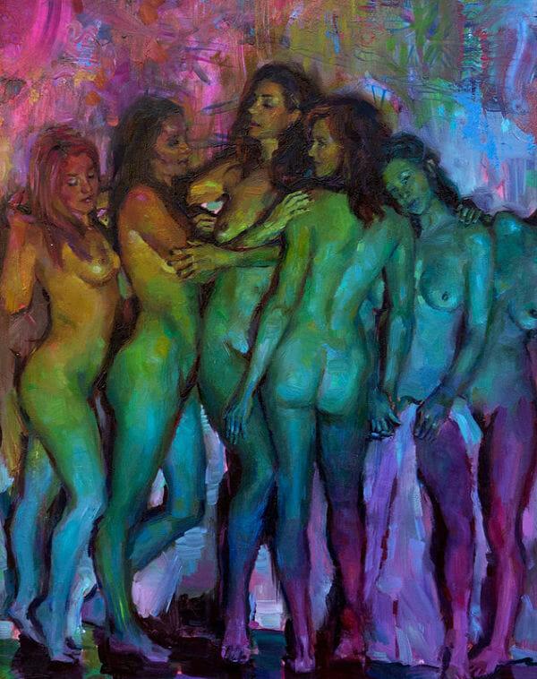 Natalia Fabia rainbow nude women oil painting