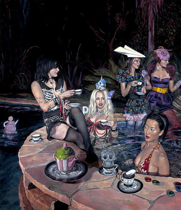 Natalia Fabia pool party oil painting