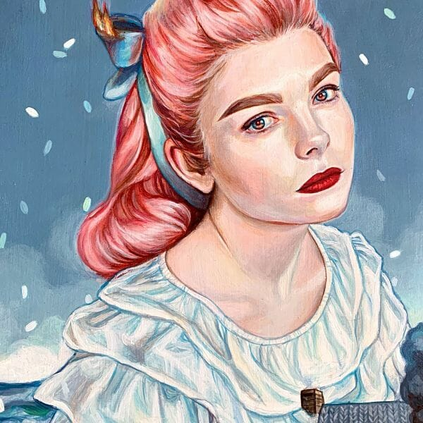 """Edith Lebeau """"Destroy Everything You Touch"""" pink hair surreal portrait"""