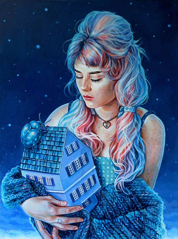 """Edith Lebeau, """"Everything is going to be alright"""" blue hair girl holding house"""