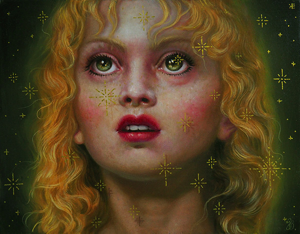 jana brike painting for the ritual art exhibition pop surrealism