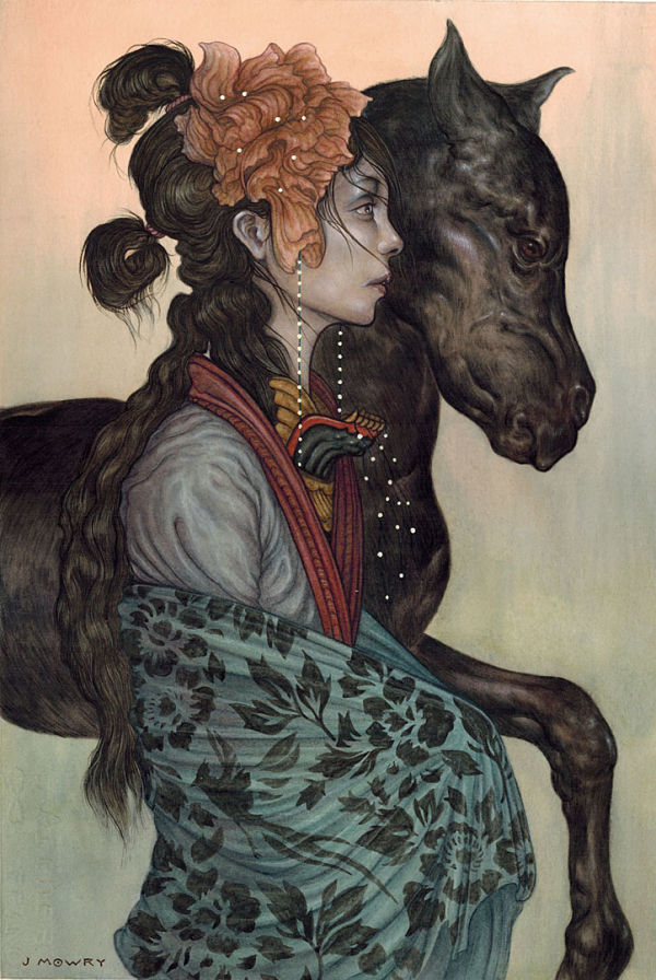 Jason Mowry Black Pony, watercolor and gouache painting Haven Gallery