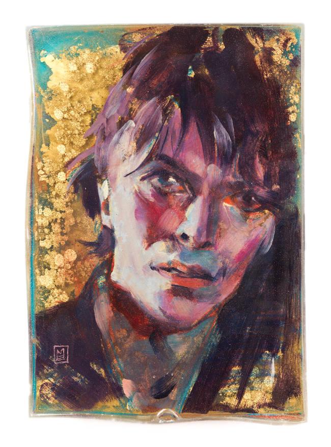 Marc Scheff mixed media resin Bowie portrait