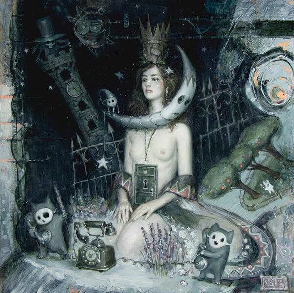 "Nadezda ""Her Wooden Crown Overgrown"" nude surreal painting"