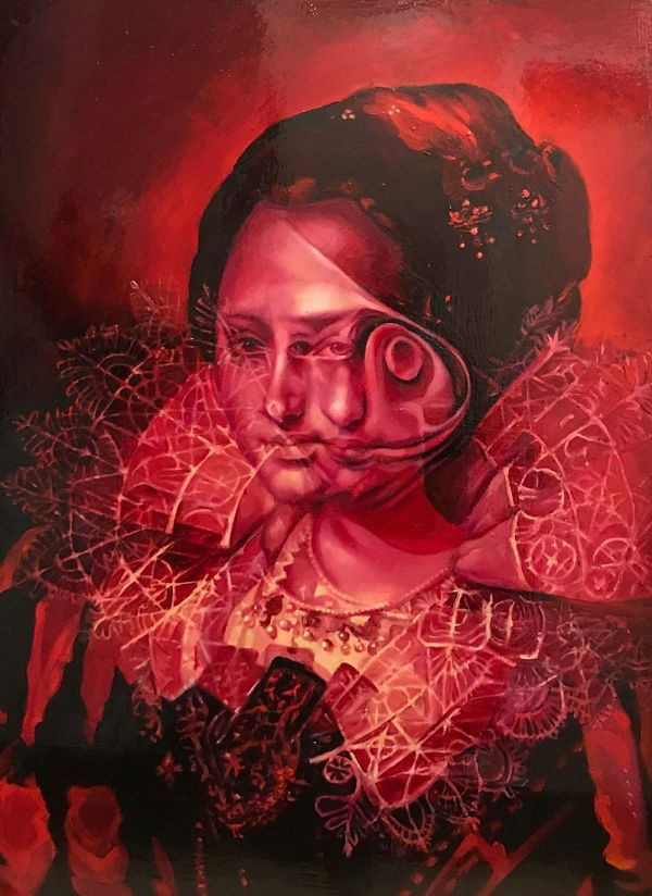 Nannette Cherry red Anamnesis After Paulus Moreelse surreal dark art painting