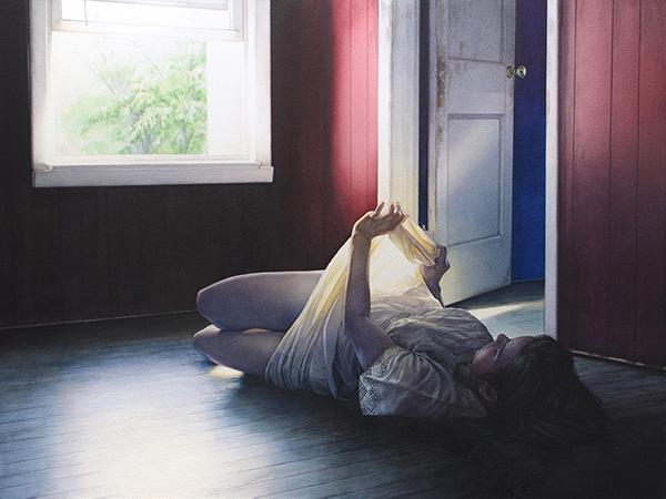 reuben negron painting for the ritual art exhibition pop surrealism