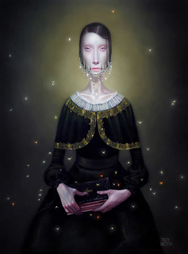 troy brooks painting for the ritual art exhibition pop surrealism