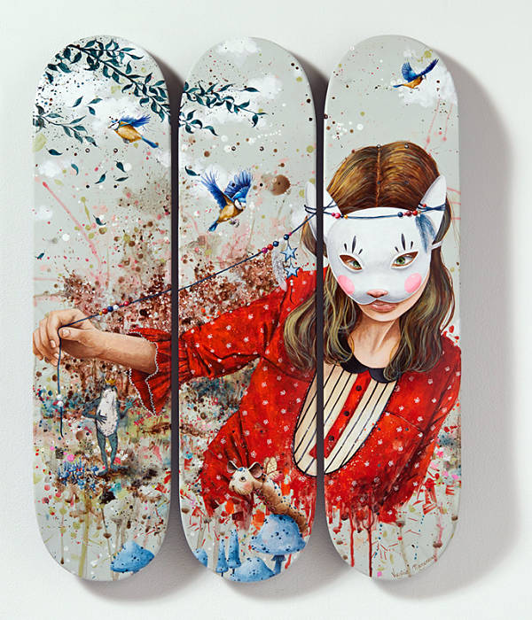 "Virginie Mazureau ""Once Upon a Time..."" skateboard painting"