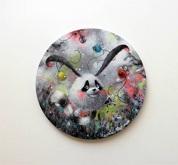 "Virginie Mazureau ""Oscar The Sweet Tooth"" surreal panda painting Distinction Gallery"