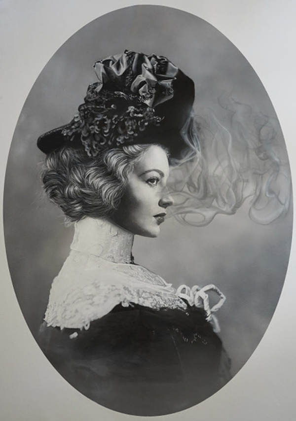 "Zoé Byland, ""Lady and smoke"" black and white portrait painting"