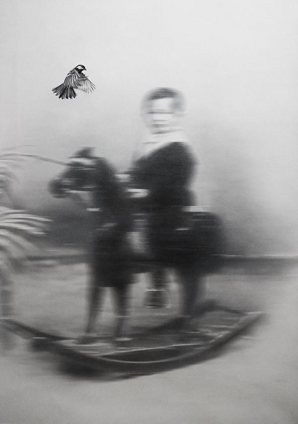 """Zoé Byland """"Boy and bird out of focus"""" surreal painting"""