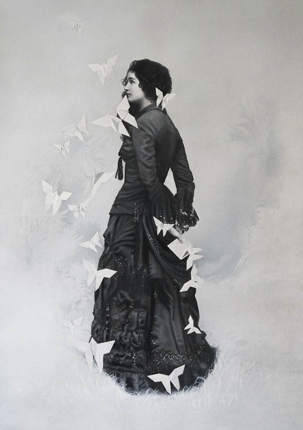 """Zoé Byland """"Lady with Letter"""" vintage style painting"""