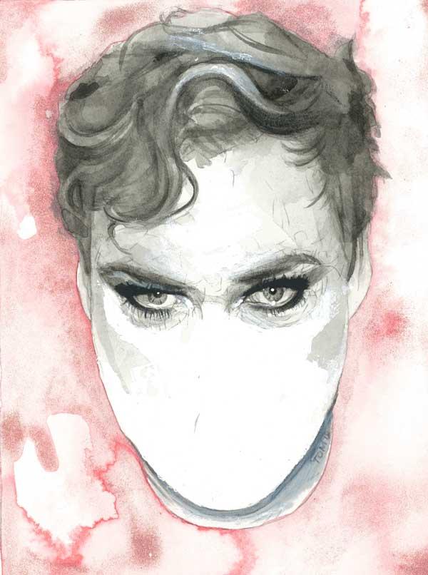 Tom Christophersen watercolor unfinished portrait painting