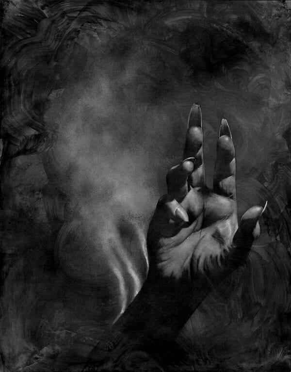 Allen Williams burning hand dark art