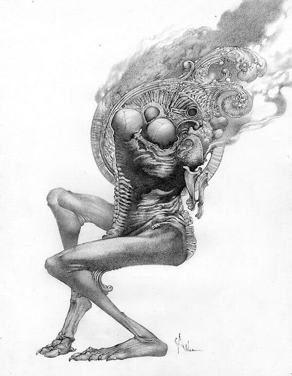 Allen Williams dark art drawing Hidden Light at Copro Gallery