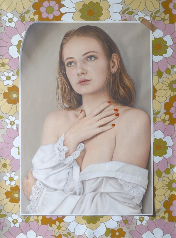 Anne-Marie Zanetti realism portrait young woman and flowers painting