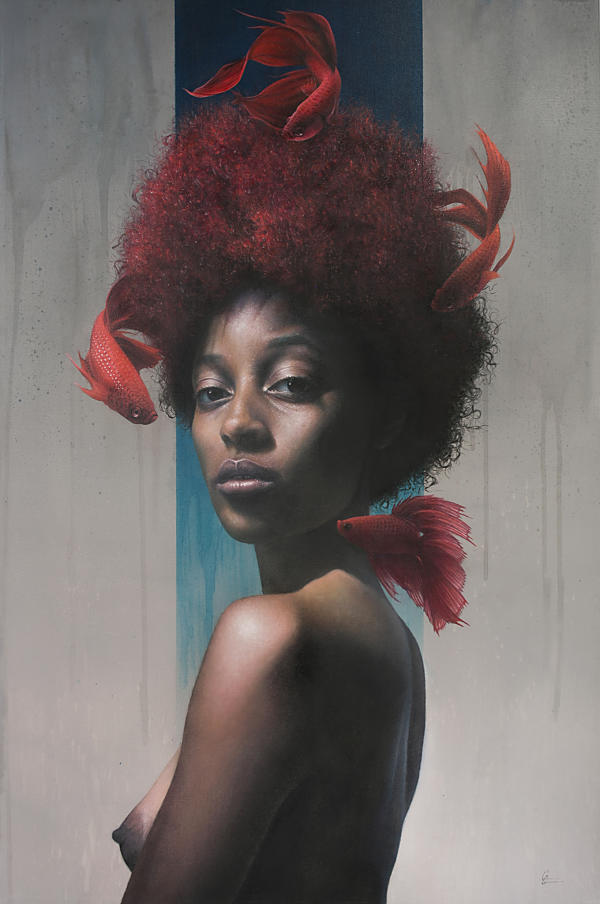 Grant Gilsdorf surreal fish woman portrait painting