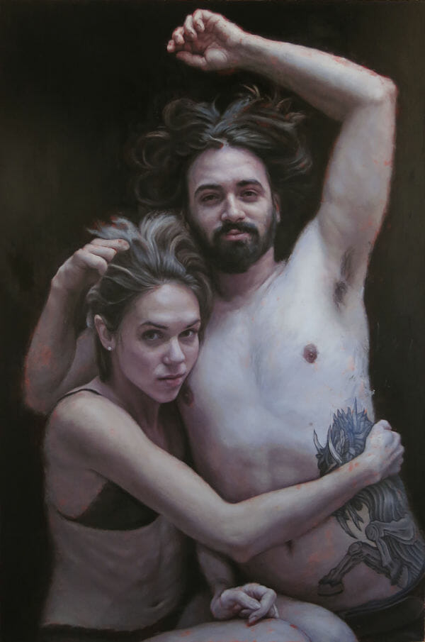 Michelle Lynn Doll realism nude couple painting