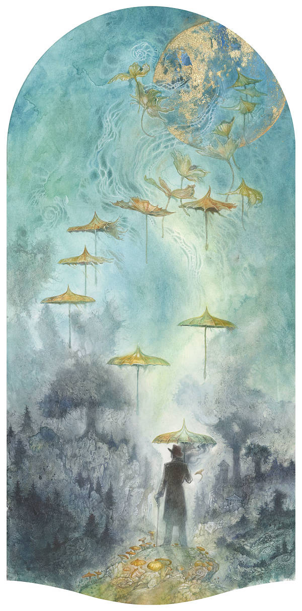 Stephanie Law conjure man with umbrellas painting