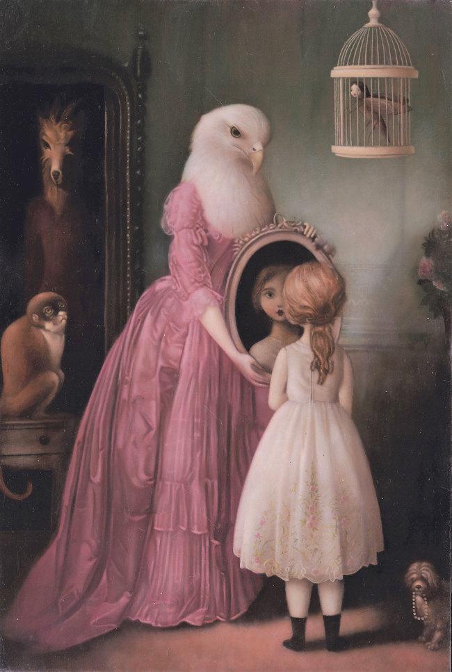 Stephen Mackey bird chimera and child Arcadia Contemporary