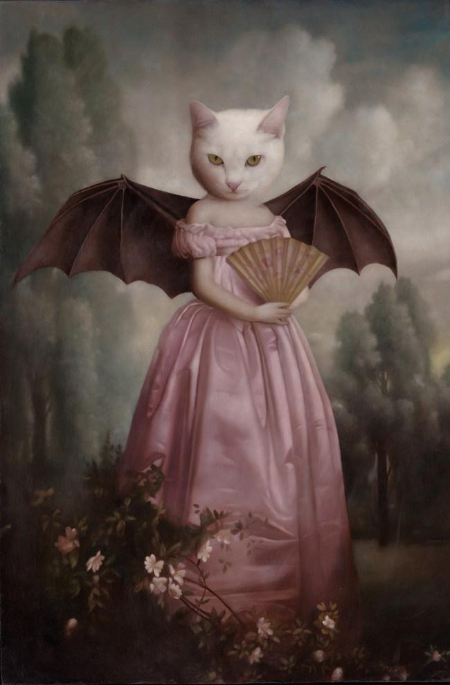 Stephen Mackey cat and bat wings fan