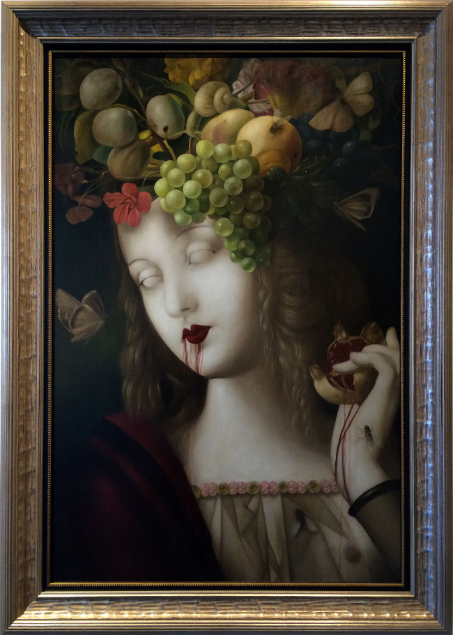 Stephen Mackey dripping fruit surreal painting