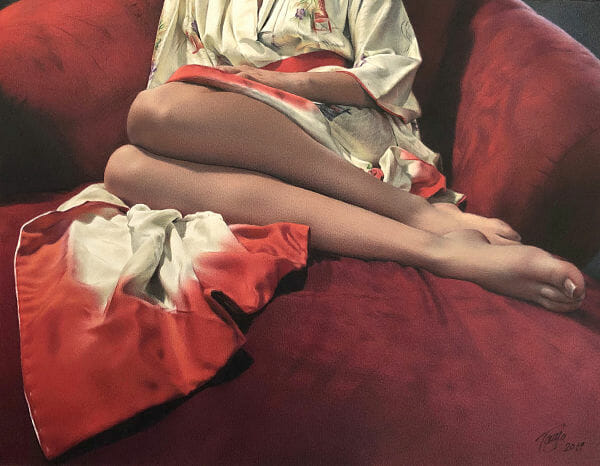 Tanja Gant Oracle woman's legs contemporary realism PoetsArtists painting