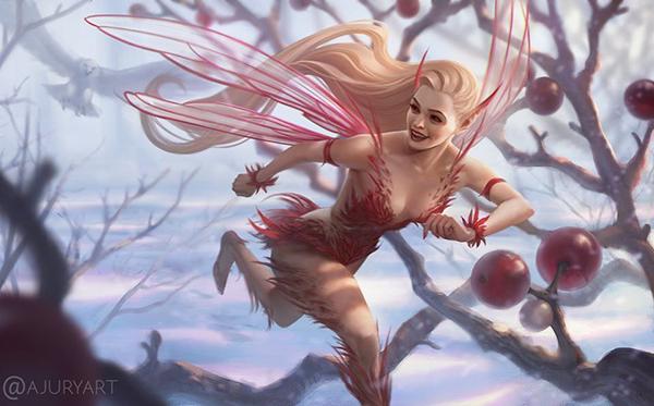 Digital painting by artist Alexandra Jury of a mischievous fairy running through a snowy forrest fleeing an owl