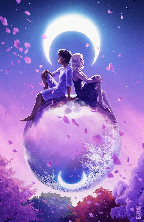 digital painting by Amy Kaufman, two figures sit on a silver globe beneath the moon, purple sky and landscape behind them