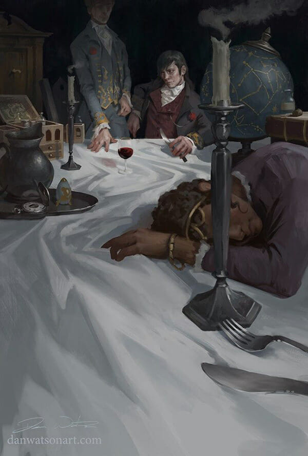 Painting by Dan Watson. Two figures with wine and a knife observe a foreground figure collapsed on their table.