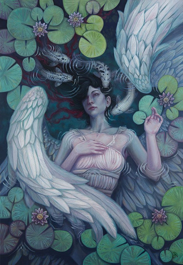 Painting by David Natale. Woman with wings gazing up from a pool surrounded by water lilies, made for IMC art program 2019