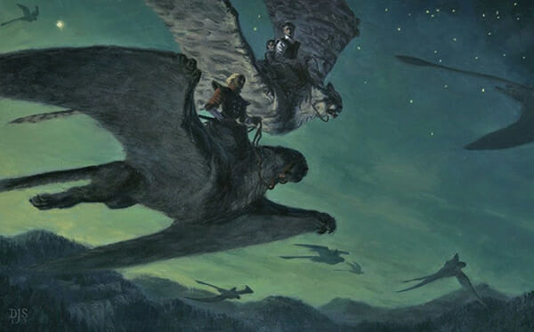 Oil Painting by David Still showing human riders flying in twilight on giant cats with wings