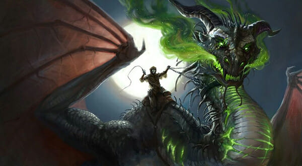 digital painting by illustrator Kathleen O' Hara. dragon glowing green, rider silhouetted by moon. Started at IMC art program
