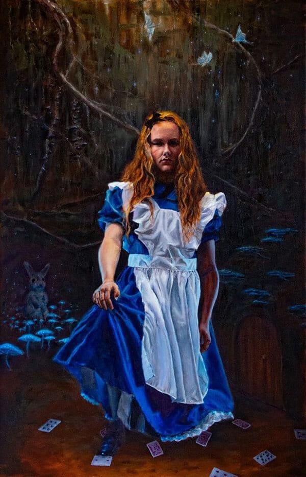 Painting by Michael Flint of Alice in Wonderland, moody and dark
