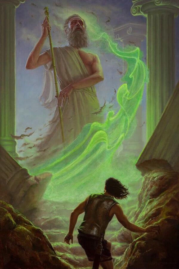 Oil painting by Nick Elias. A towering Greek god emits glowing green plasm