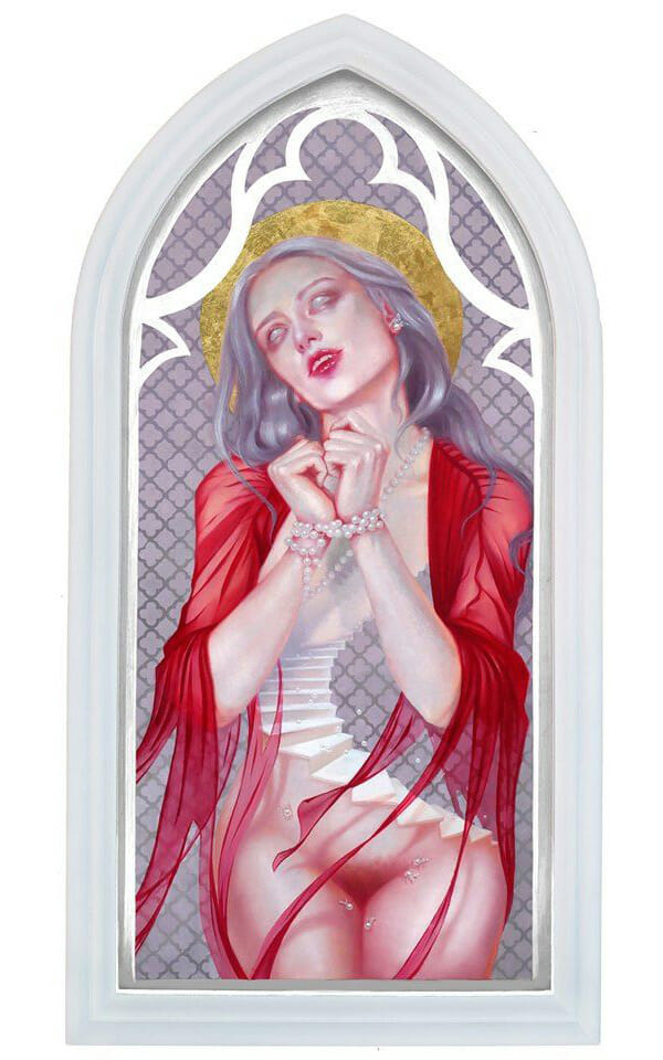 contemporary gothic oil painting by Rain Delmar. Woman in archway, red sheer garment, wrists bound by pearls, white eyes