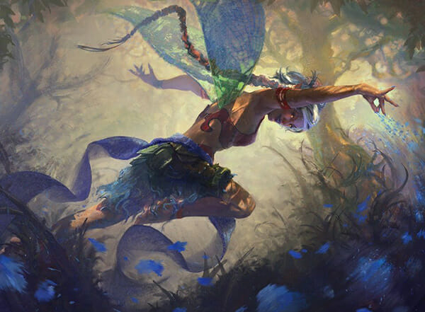 Ben Hill Female fairy looking from below outstretched arms as she leaps toward magical forest