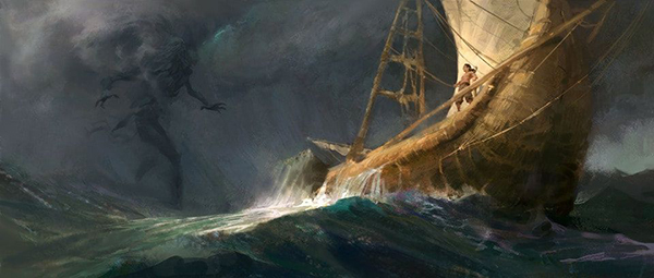 Digital illustration by Anthony Di Giovanni showing an ancient ship as sea as a giant entity emerges from an oncoming storm