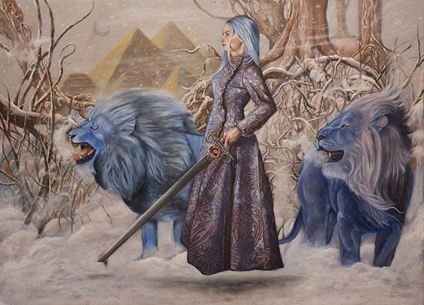 Joseph Weinreb contemporary symbolist painting. Blue lions and a flying woman with a sword. Started at IMC art workshop 1019