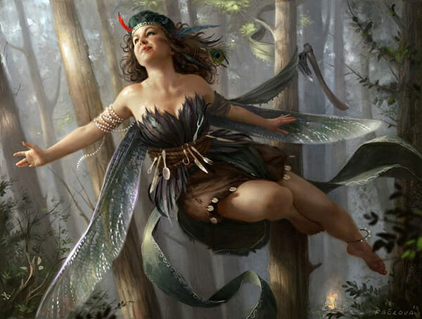 A digital painting by Martina Fackova, a fairy flies through dappled forrest. Created during IMC art program 2019