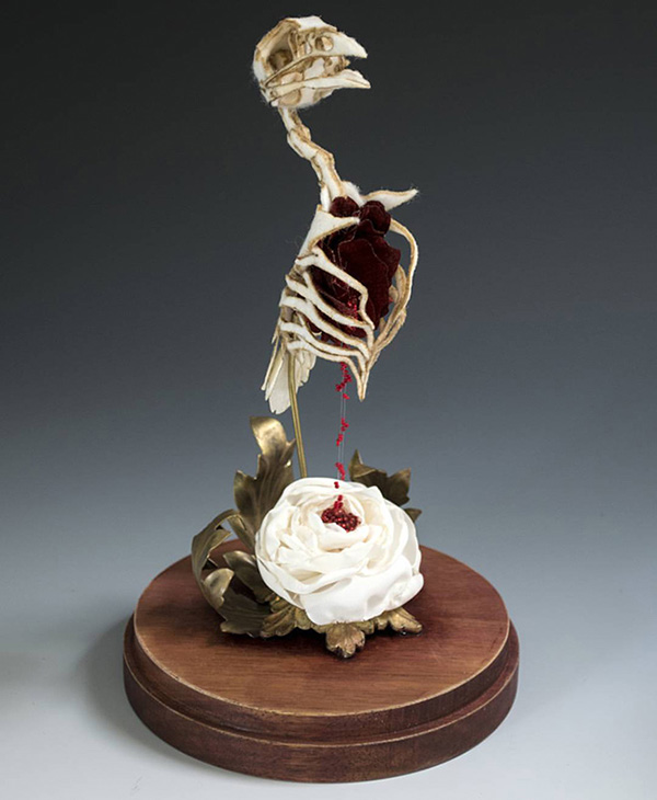 Lana Crooks dark art bleeding animal skeleton sculpture